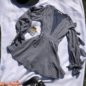 East Order plaid/bow knott  sleeves
